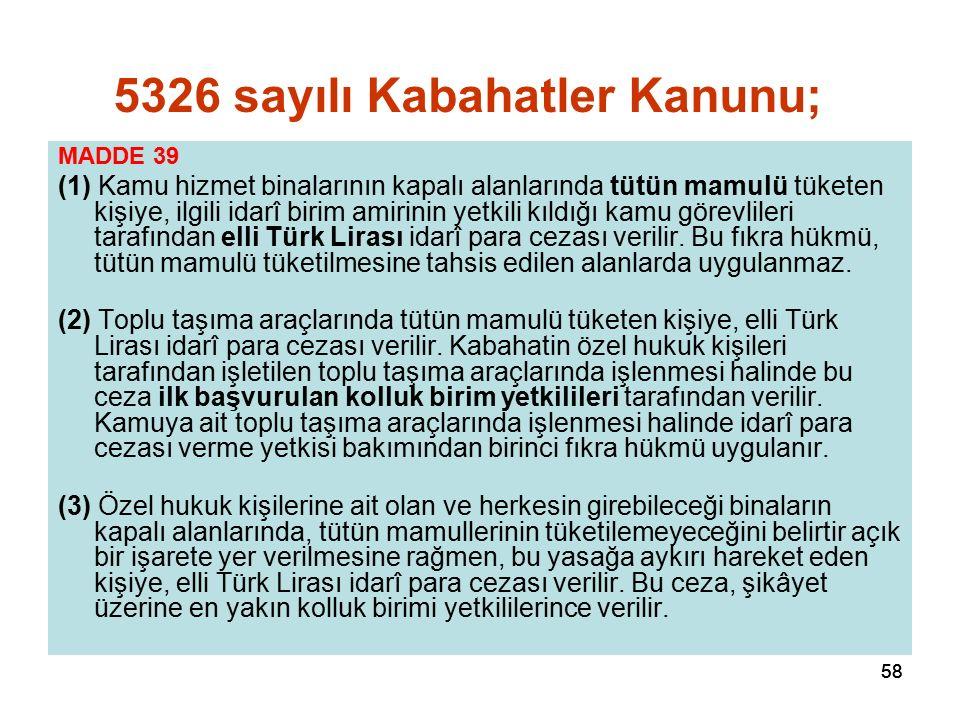 58 MADDE 39 (1) Kamu hizmet binalarının kapalı alanlarında tütün mamulü tüketen kişiye, ilgili idarî birim amirinin yetkili kıldığı kamu görevlileri tarafından elli Türk Lirası idarî para cezası verilir.