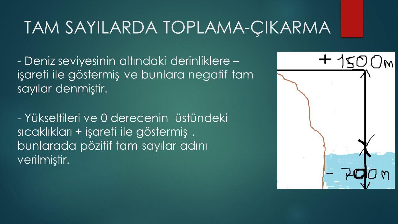TAM SAYILARDA TOPLAMA-ÇIKARMA - Deniz seviyesinin altındaki derinliklere – işareti ile göstermiş ve bunlara negatif tam sayılar denmiştir. - Yükseltil