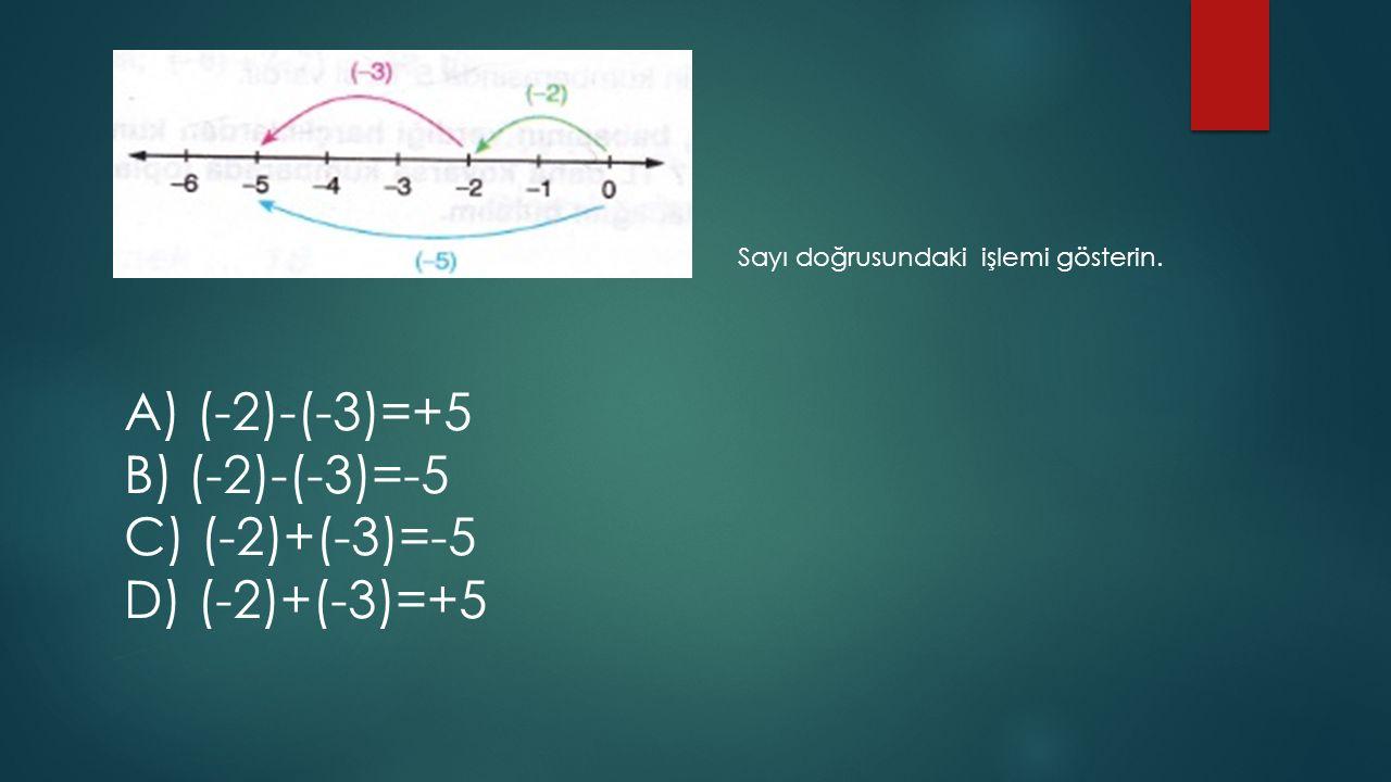 A) (-2)-(-3)=+5 B) (-2)-(-3)=-5 C) (-2)+(-3)=-5 D) (-2)+(-3)=+5 Sayı doğrusundaki işlemi gösterin.