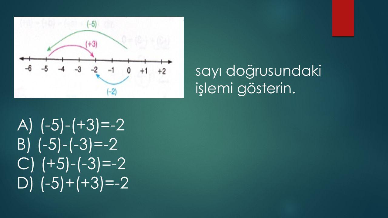 sayı doğrusundaki işlemi gösterin. A) (-5)-(+3)=-2 B) (-5)-(-3)=-2 C) (+5)-(-3)=-2 D) (-5)+(+3)=-2