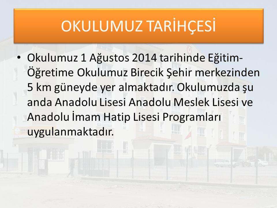 OKULUMUZ TARİHÇESİ Okulumuz 1 Ağustos 2014 tarihinde Eğitim- Öğretime Okulumuz Birecik Şehir merkezinden 5 km güneyde yer almaktadır.