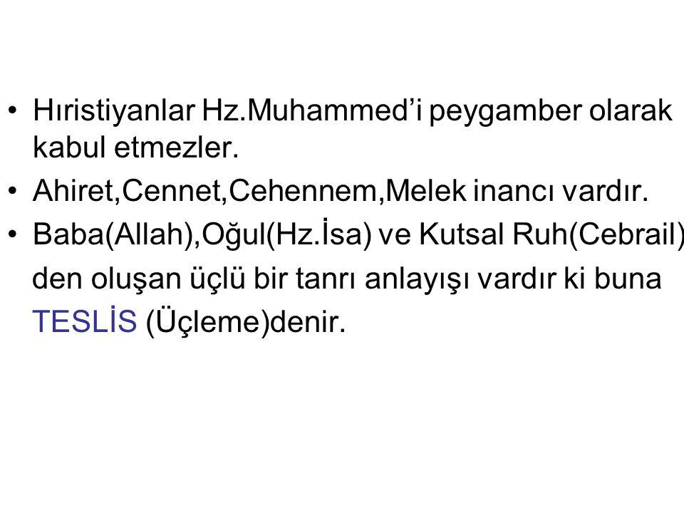 Hıristiyanlar Hz.Muhammed'i peygamber olarak kabul etmezler.