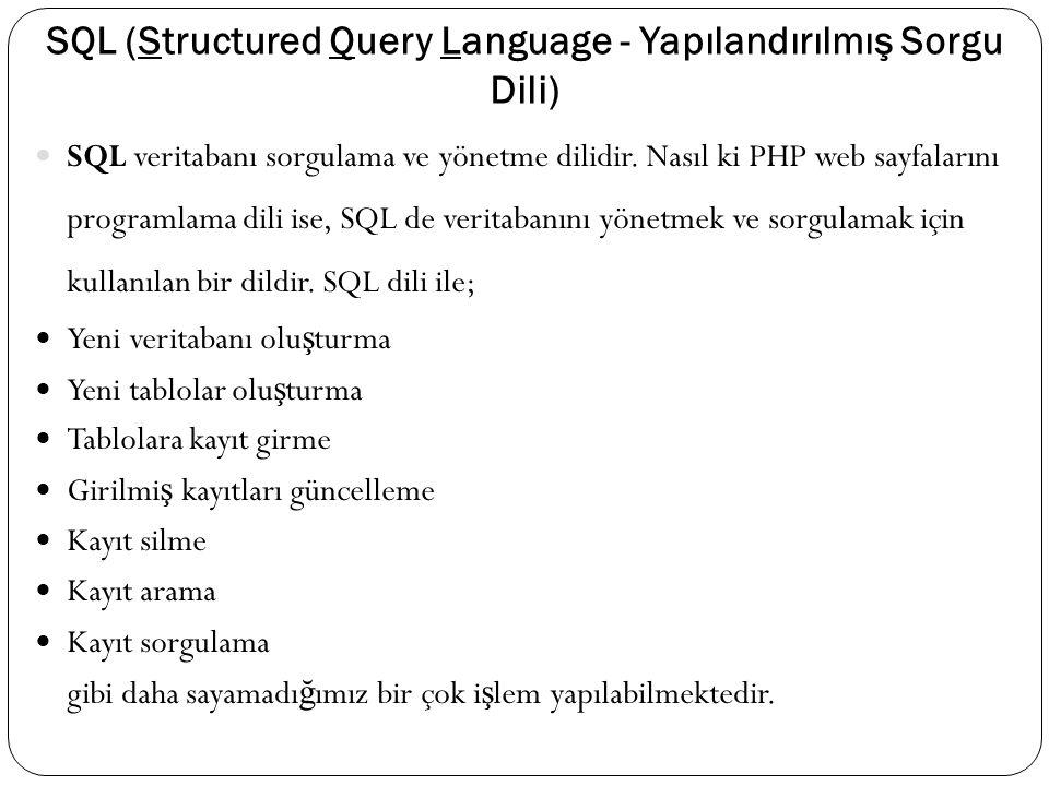 SQL (Structured Query Language - Yapılandırılmış Sorgu Dili) SQL veritabanı sorgulama ve yönetme dilidir. Nasıl ki PHP web sayfalarını programlama dil