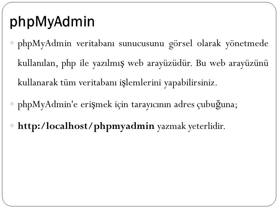 phpMyAdmin phpMyAdmin veritabanı sunucusunu görsel olarak yönetmede kullanılan, php ile yazılmı ş web arayüzüdür. Bu web arayüzünü kullanarak tüm veri