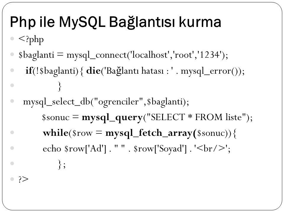 Php ile MySQL Bağlantısı kurma <?php $baglanti = mysql_connect('localhost','root','1234'); if(!$baglanti){ die('Ba ğ lantı hatası : '. mysql_error());