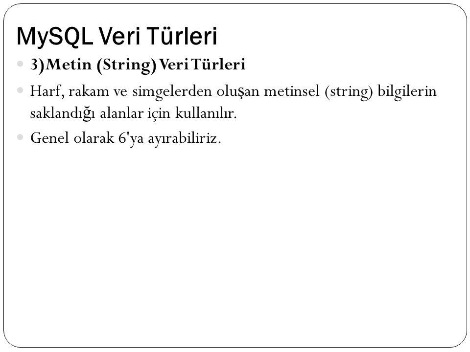MySQL Veri Türleri 3)Metin (String) Veri Türleri Harf, rakam ve simgelerden olu ş an metinsel (string) bilgilerin saklandı ğ ı alanlar için kullanılır.