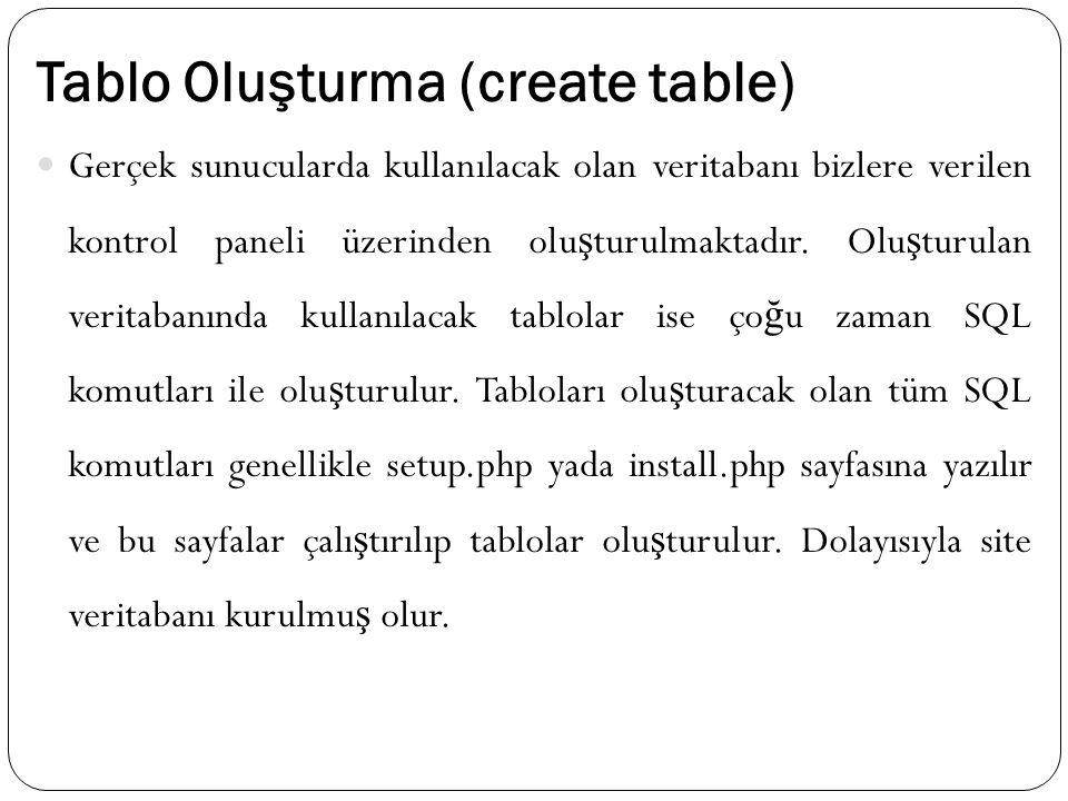 Tablo Oluşturma (create table) Gerçek sunucularda kullanılacak olan veritabanı bizlere verilen kontrol paneli üzerinden olu ş turulmaktadır. Olu ş tur