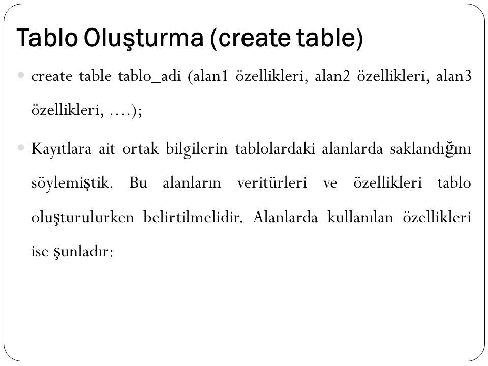 Tablo Oluşturma (create table) create table tablo_adi (alan1 özellikleri, alan2 özellikleri, alan3 özellikleri,....); Kayıtlara ait ortak bilgilerin tablolardaki alanlarda saklandı ğ ını söylemi ş tik.