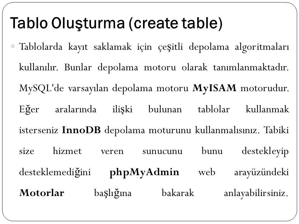 Tablo Oluşturma (create table) Tablolarda kayıt saklamak için çe ş itli depolama algoritmaları kullanılır. Bunlar depolama motoru olarak tanımlanmakta