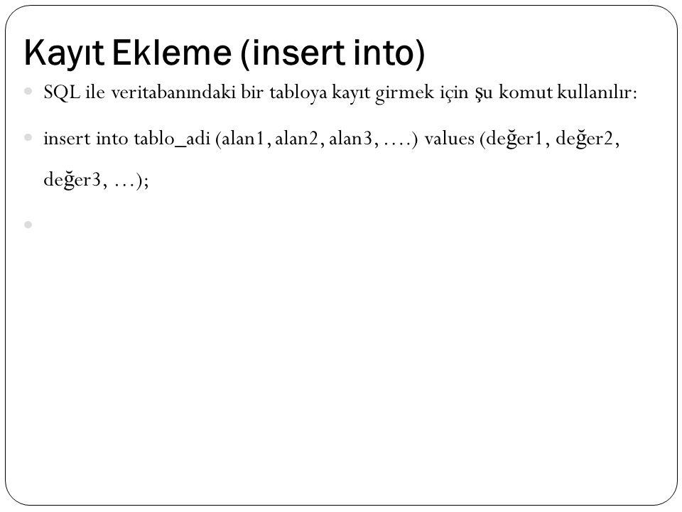 Kayıt Ekleme (insert into) SQL ile veritabanındaki bir tabloya kayıt girmek için ş u komut kullanılır: insert into tablo_adi (alan1, alan2, alan3, ….) values (de ğ er1, de ğ er2, de ğ er3, …);