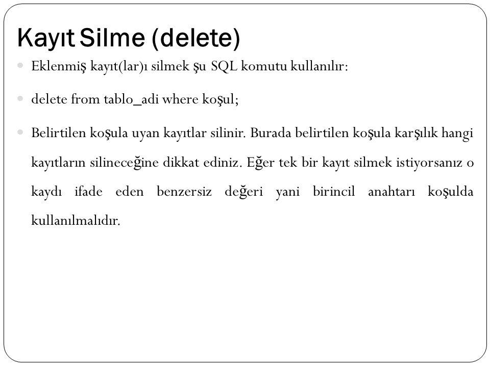Kayıt Silme (delete) Eklenmi ş kayıt(lar)ı silmek ş u SQL komutu kullanılır: delete from tablo_adi where ko ş ul; Belirtilen ko ş ula uyan kayıtlar si