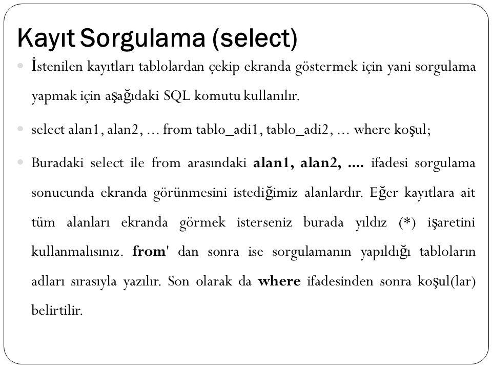 Kayıt Sorgulama (select) İ stenilen kayıtları tablolardan çekip ekranda göstermek için yani sorgulama yapmak için a ş a ğ ıdaki SQL komutu kullanılır.