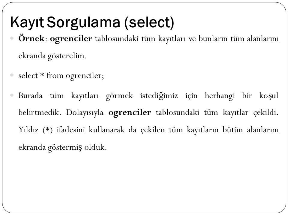 Kayıt Sorgulama (select) Örnek: ogrenciler tablosundaki tüm kayıtları ve bunların tüm alanlarını ekranda gösterelim. select * from ogrenciler; Burada
