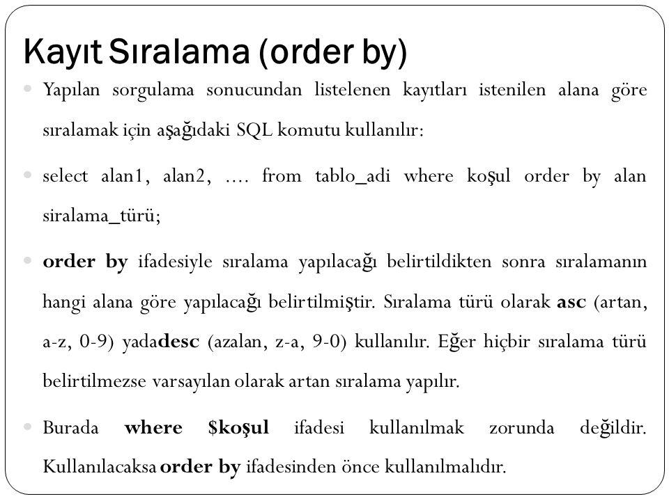 Kayıt Sıralama (order by) Yapılan sorgulama sonucundan listelenen kayıtları istenilen alana göre sıralamak için a ş a ğ ıdaki SQL komutu kullanılır: select alan1, alan2,....
