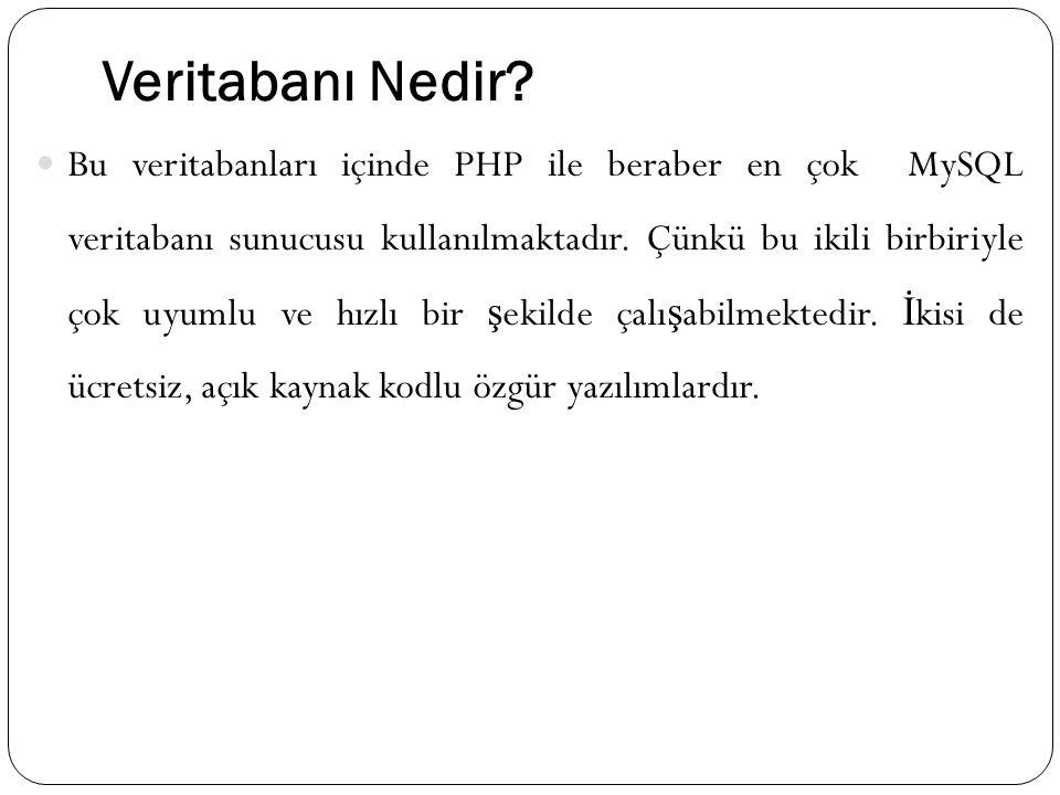 Veritabanı Nedir? Bu veritabanları içinde PHP ile beraber en çok MySQL veritabanı sunucusu kullanılmaktadır. Çünkü bu ikili birbiriyle çok uyumlu ve h