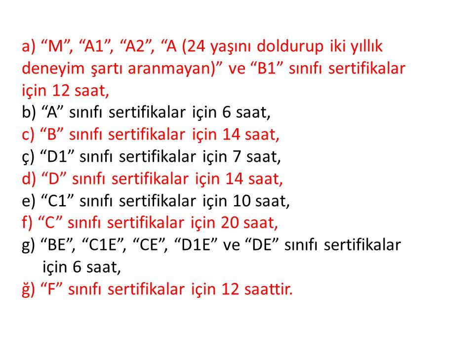 a) M , A1 , A2 , A (24 yaşını doldurup iki yıllık deneyim şartı aranmayan) ve B1 sınıfı sertifikalar için 12 saat, b) A sınıfı sertifikalar için 6 saat, c) B sınıfı sertifikalar için 14 saat, ç) D1 sınıfı sertifikalar için 7 saat, d) D sınıfı sertifikalar için 14 saat, e) C1 sınıfı sertifikalar için 10 saat, f) C sınıfı sertifikalar için 20 saat, g) BE , C1E , CE , D1E ve DE sınıfı sertifikalar için 6 saat, ğ) F sınıfı sertifikalar için 12 saattir.