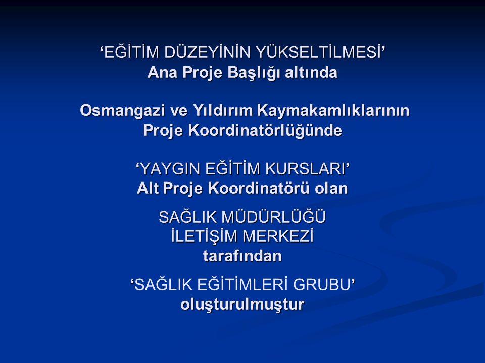 'EĞİTİM DÜZEYİNİN YÜKSELTİLMESİ' Ana Proje Başlığı altında Osmangazi ve Yıldırım Kaymakamlıklarının Proje Koordinatörlüğünde 'YAYGIN EĞİTİM KURSLARI'