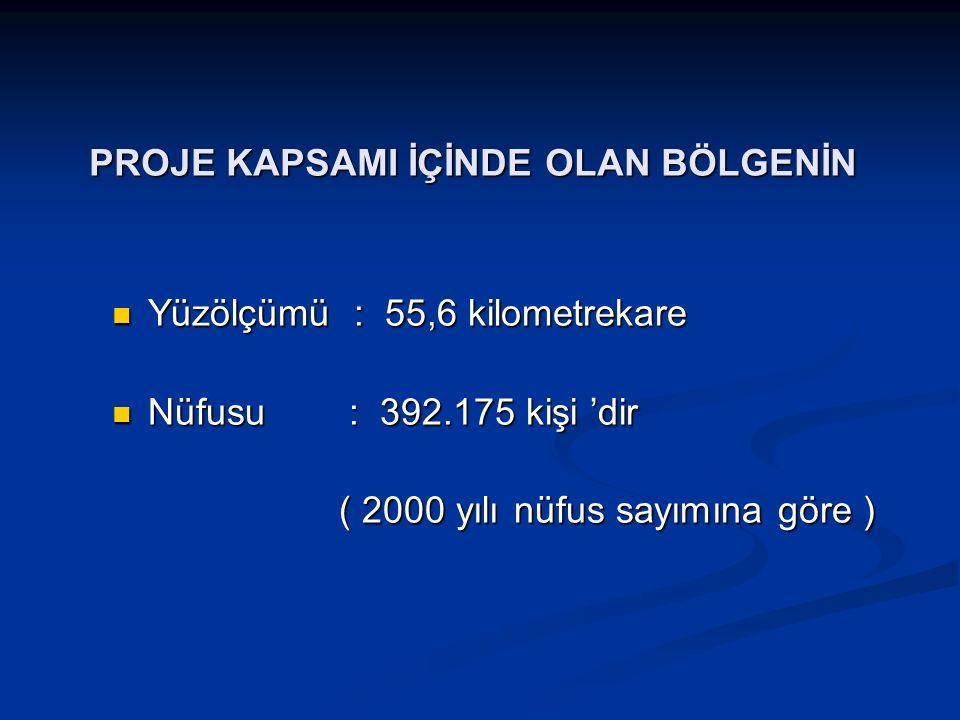 PROJE KAPSAMI İÇİNDE OLAN BÖLGENİN PROJE KAPSAMI İÇİNDE OLAN BÖLGENİN Yüzölçümü : 55,6 kilometrekare Yüzölçümü : 55,6 kilometrekare Nüfusu : 392.175 k