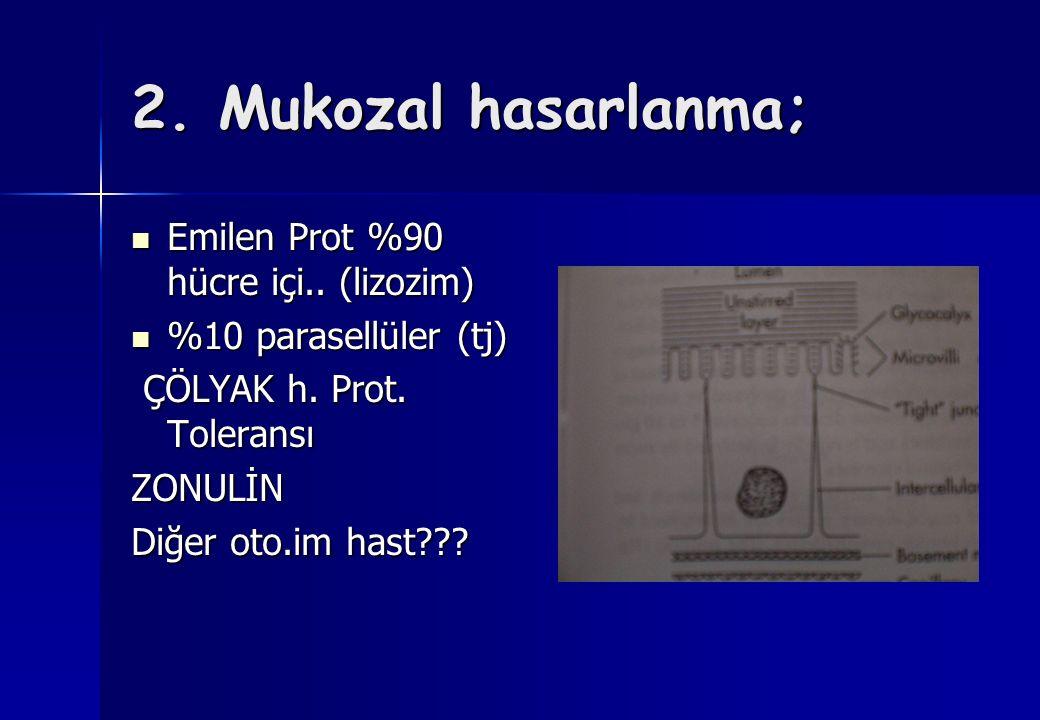 2. Mukozal hasarlanma; Emilen Prot %90 hücre içi.. (lizozim) Emilen Prot %90 hücre içi.. (lizozim) %10 parasellüler (tj) %10 parasellüler (tj) ÇÖLYAK