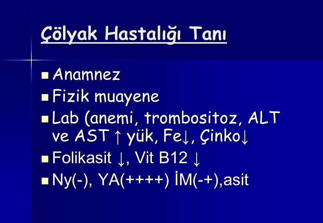 Çölyak Hastalığı Tanı Anamnez Anamnez Fizik muayene Fizik muayene Lab (anemi, trombositoz, ALT ve AST ↑ yük, Fe ↓, Çinko ↓ Lab (anemi, trombositoz, AL