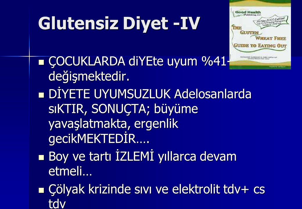 Glutensiz Diyet -IV ÇOCUKLARDA diYEte uyum %41-82 arası değişmektedir.
