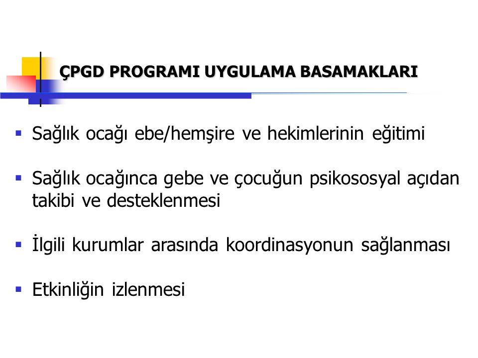 ÇPGD Programı Temel Eğitimi beş gün sürer Ebe/hemşire ve hekimlere ayrı eğitim programları vardır Eğitimler 16-18 kişilik gruplarda yapılır