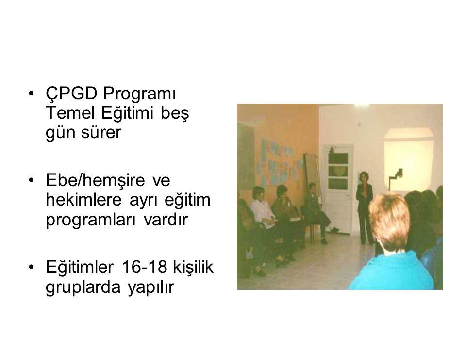 ÇPGD Programı Temel Eğitimi Konu Başlıkları Görüşme teknikleri Görüşme araçlarının kullanımı Çocuğun psikososyal gelişimi Gelişimde risk etmenleri ve koruyucu etmenler Gebenin ruh sağlığı Gebe ve çocuğun beslenmesi Büyümenin ve gelişimin izlenmesi Beslenme yetersizliklerinde müdahale Kadın ve çocuğun istismarı