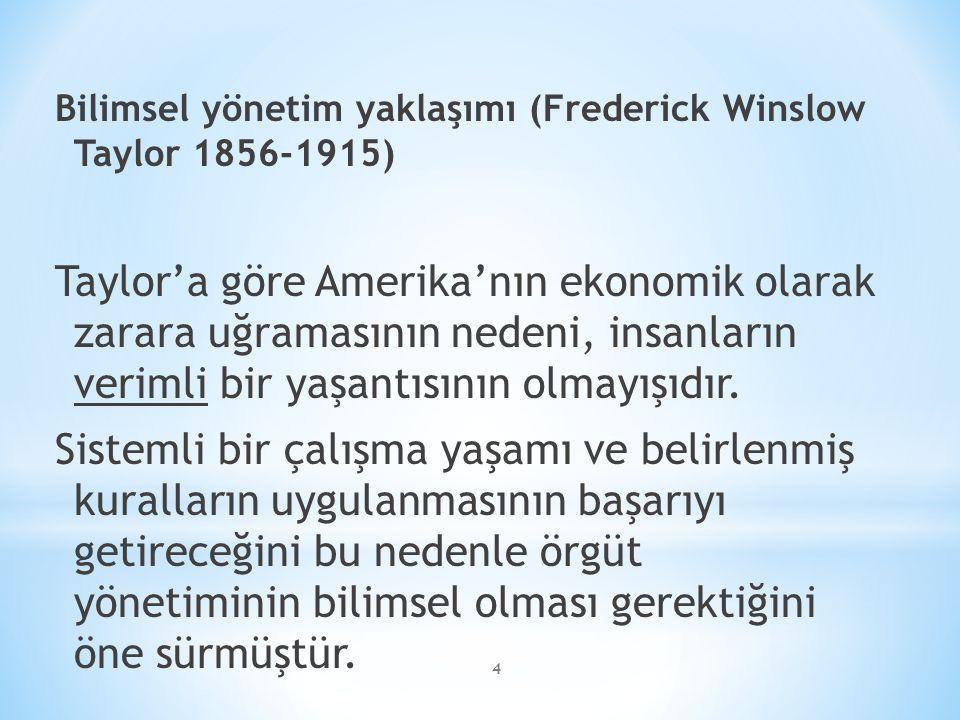 4 Bilimsel yönetim yaklaşımı (Frederick Winslow Taylor 1856-1915) Taylor'a göre Amerika'nın ekonomik olarak zarara uğramasının nedeni, insanların verimli bir yaşantısının olmayışıdır.