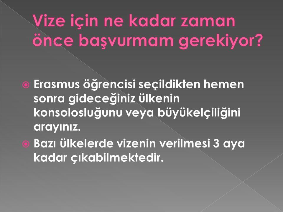  Erasmus öğrencisi seçildikten hemen sonra gideceğiniz ülkenin konsolosluğunu veya büyükelçiliğini arayınız.