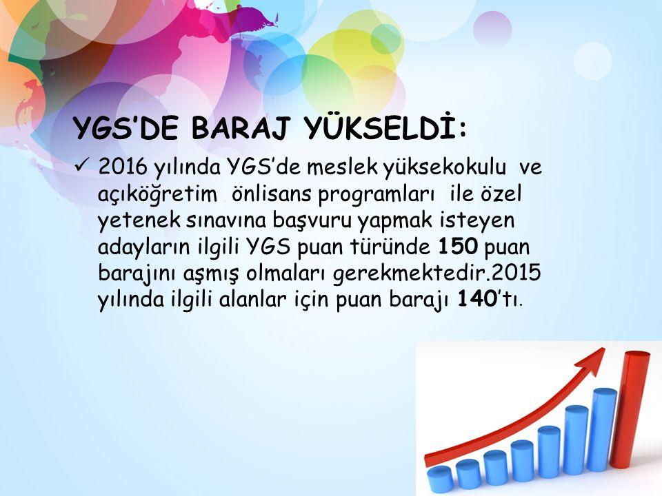 YGS'DE BARAJ YÜKSELDİ: 2016 yılında YGS'de meslek yüksekokulu ve açıköğretim önlisans programları ile özel yetenek sınavına başvuru yapmak isteyen adayların ilgili YGS puan türünde 150 puan barajını aşmış olmaları gerekmektedir.2015 yılında ilgili alanlar için puan barajı 140'tı.