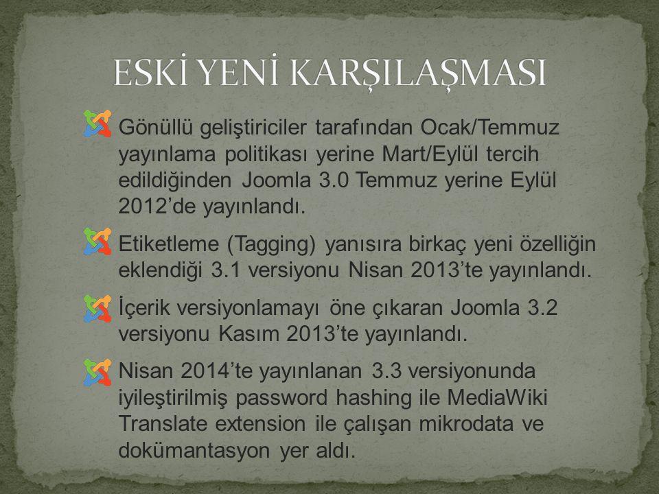 Joomla Proje Ekibi 25 nisan 2014'te sonraki versiyonlar için Semantik Versiyonlama'ya (SemVer) geçtiklerini duyurdu.