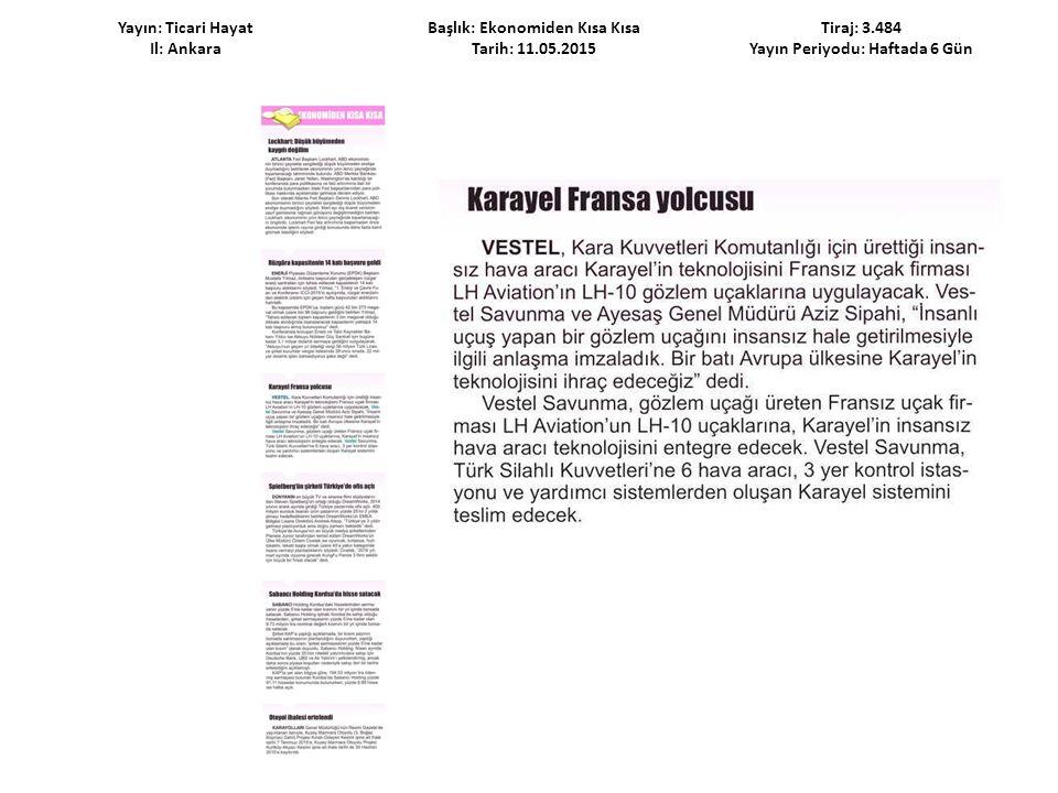 Yayın: Ticari Hayat Il: Ankara Başlık: Ekonomiden Kısa Kısa Tarih: 11.05.2015 Tiraj: 3.484 Yayın Periyodu: Haftada 6 Gün