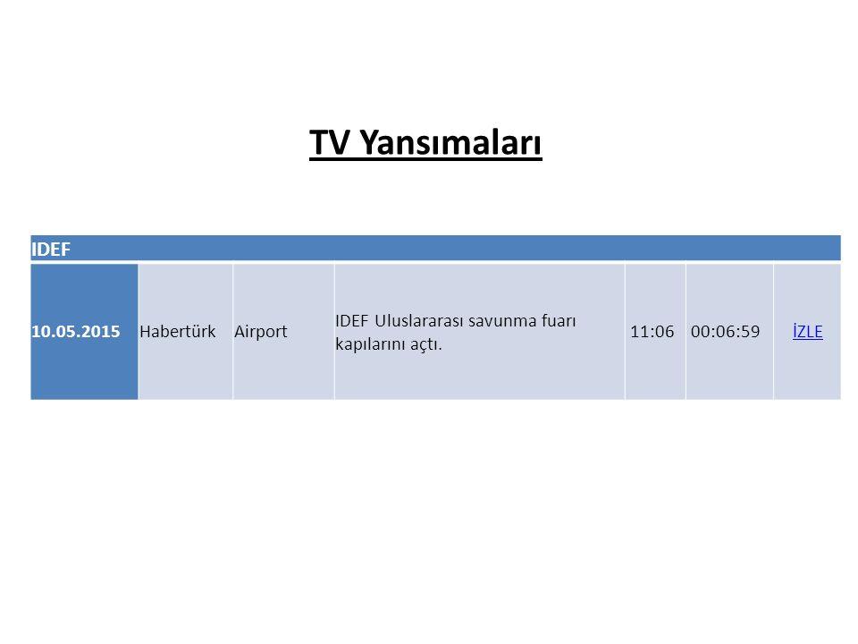 IDEF 10.05.2015HabertürkAirport IDEF Uluslararası savunma fuarı kapılarını açtı. 11:06 00:06:59İZLE TV Yansımaları