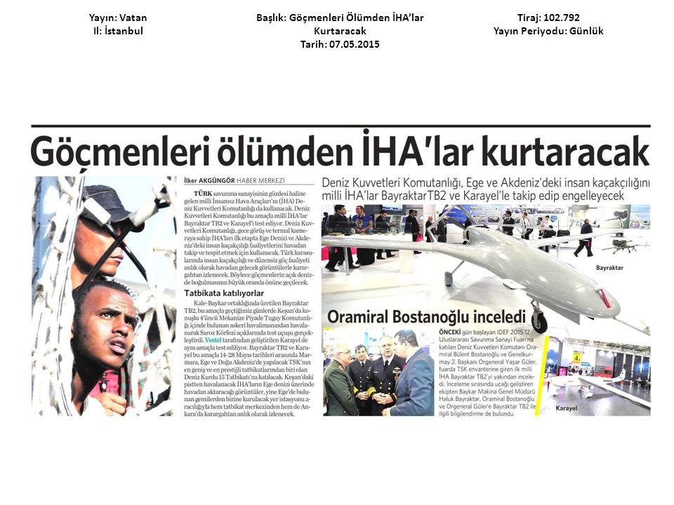 Yayın: Vatan Il: İstanbul Başlık: Göçmenleri Ölümden İHA'lar Kurtaracak Tarih: 07.05.2015 Tiraj: 102.792 Yayın Periyodu: Günlük