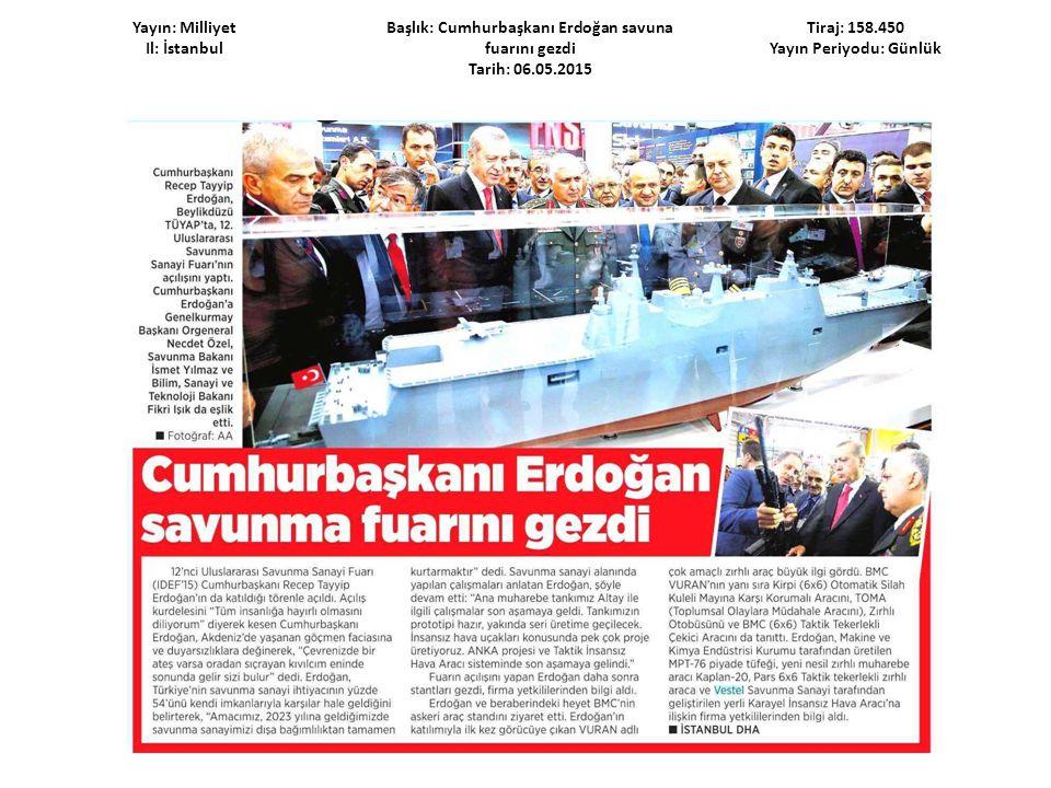 Yayın: Milliyet Il: İstanbul Başlık: Cumhurbaşkanı Erdoğan savuna fuarını gezdi Tarih: 06.05.2015 Tiraj: 158.450 Yayın Periyodu: Günlük