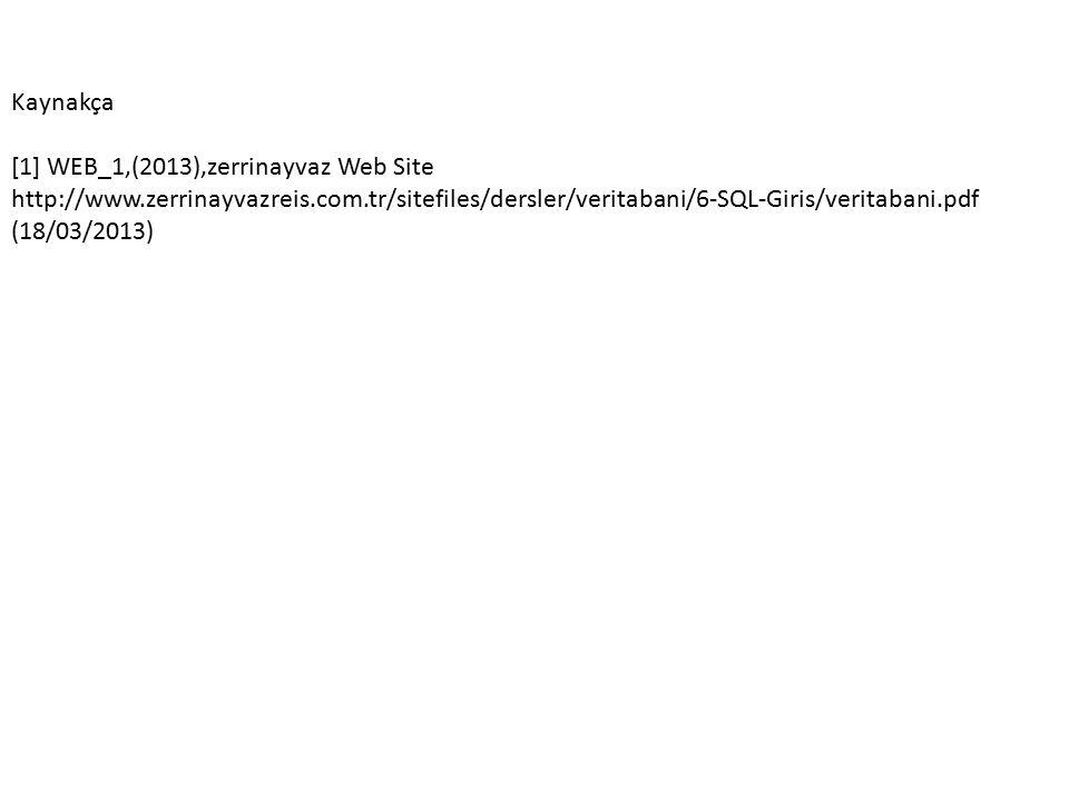 Kaynakça [1] WEB_1,(2013),zerrinayvaz Web Site http://www.zerrinayvazreis.com.tr/sitefiles/dersler/veritabani/6-SQL-Giris/veritabani.pdf (18/03/2013)