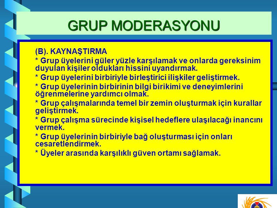 (B). KAYNAŞTIRMA * Grup üyelerini güler yüzle karşılamak ve onlarda gereksinim duyulan kişiler oldukları hissini uyandırmak. * Grup üyelerini birbiriy
