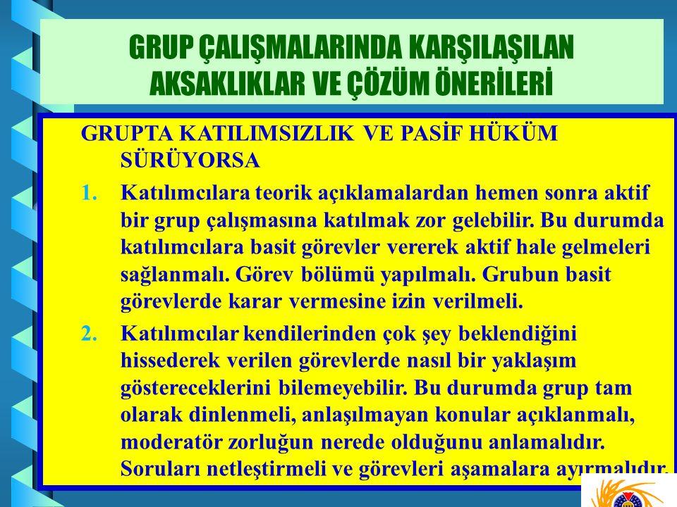 GRUPTA KATILIMSIZLIK VE PASİF HÜKÜM SÜRÜYORSA 1.