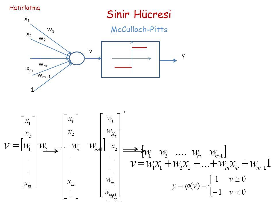 x1x1 x2x2 xmxm 1 w1w1 w2w2 wmwm w m+1 v y Sinir Hücresi McCulloch-Pitts Hatırlatma
