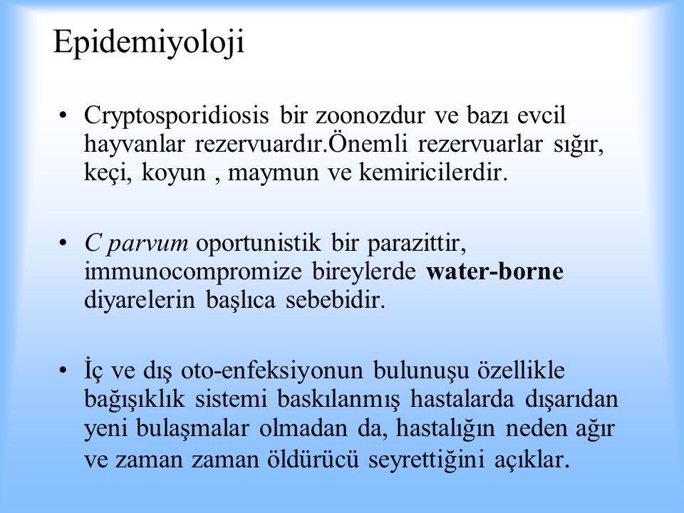 Epidemiyoloji Cryptosporidiosis bir zoonozdur ve bazı evcil hayvanlar rezervuardır.Önemli rezervuarlar sığır, keçi, koyun, maymun ve kemiricilerdir. C