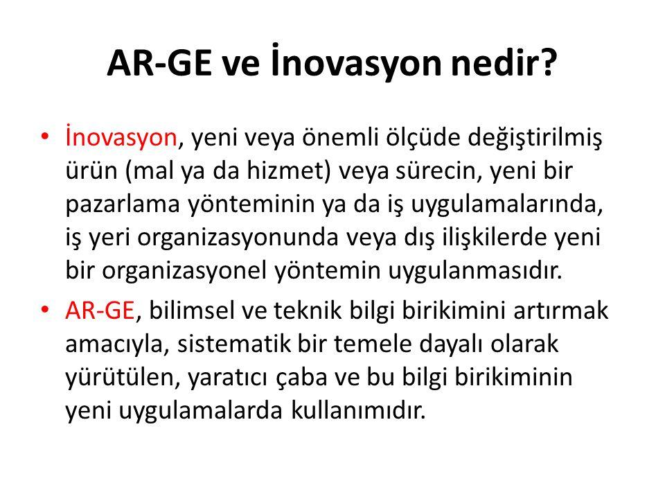 AR-GE ve İnovasyon nedir? İnovasyon, yeni veya önemli ölçüde değiştirilmiş ürün (mal ya da hizmet) veya sürecin, yeni bir pazarlama yönteminin ya da i