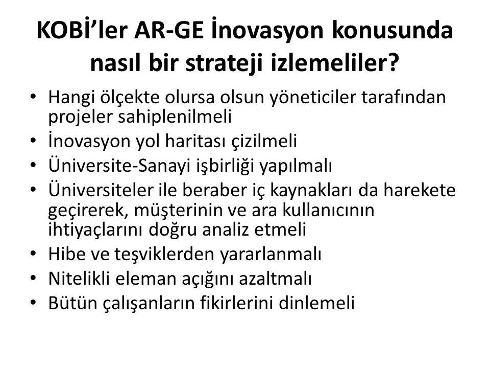 KOBİ'ler AR-GE İnovasyon konusunda nasıl bir strateji izlemeliler? Hangi ölçekte olursa olsun yöneticiler tarafından projeler sahiplenilmeli İnovasyon