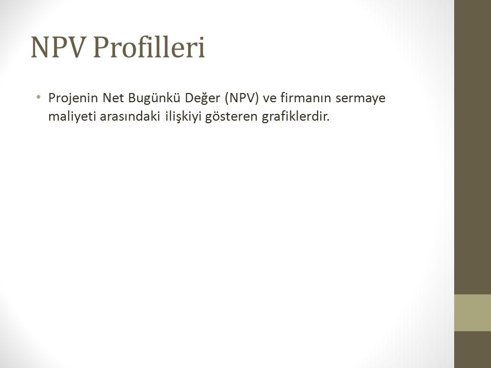NPV Profilleri Projenin Net Bugünkü Değer (NPV) ve firmanın sermaye maliyeti arasındaki ilişkiyi gösteren grafiklerdir.