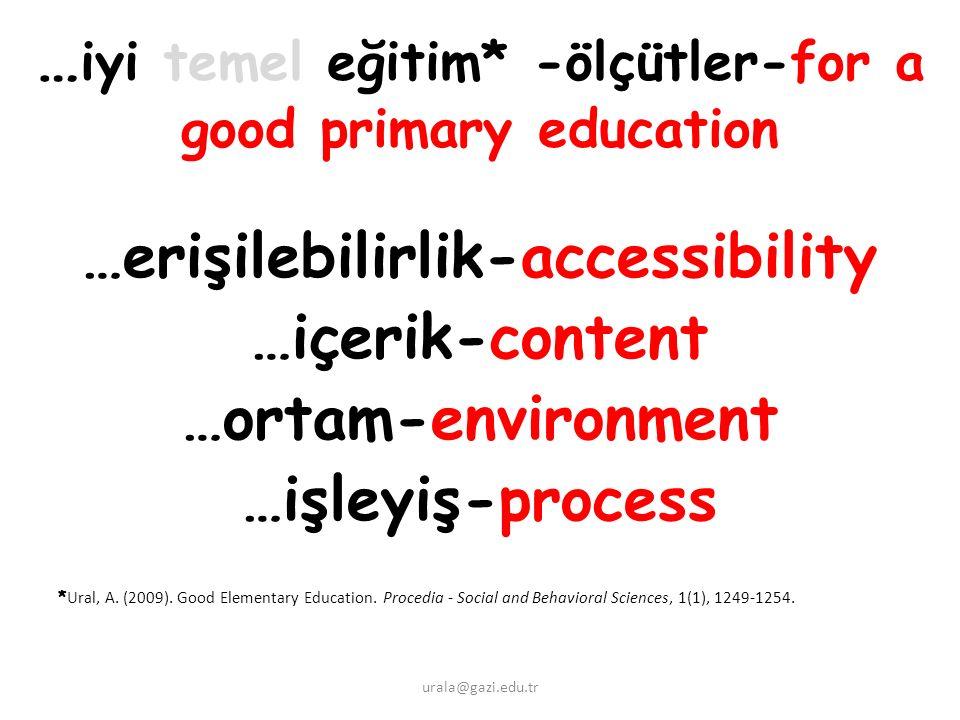 … iyi temel eğitim* -ölçütler-for a good primary education …erişilebilirlik-accessibility …içerik-content …ortam-environment …işleyiş-process * Ural, A.