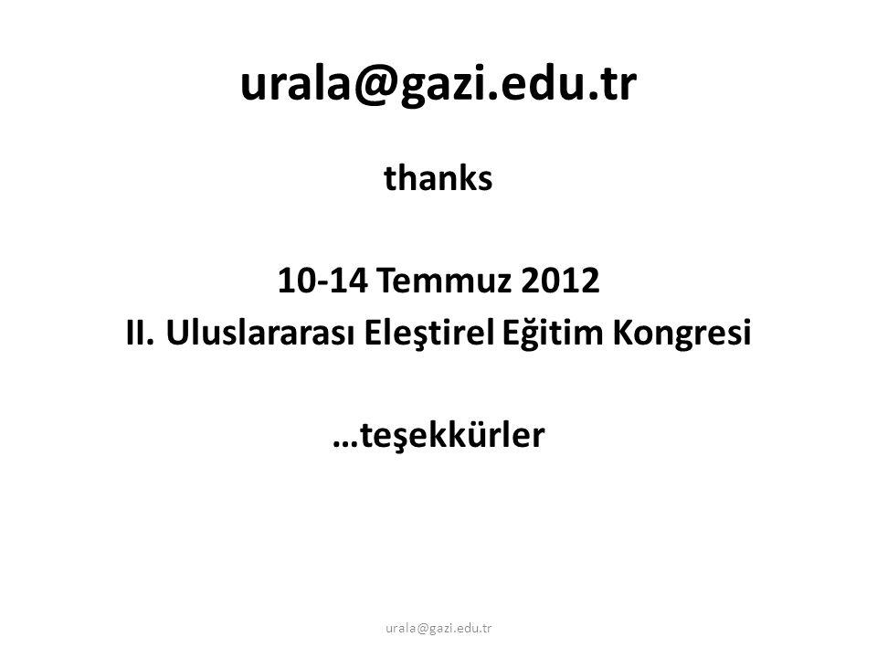 thanks 10-14 Temmuz 2012 II. Uluslararası Eleştirel Eğitim Kongresi …teşekkürler urala@gazi.edu.tr