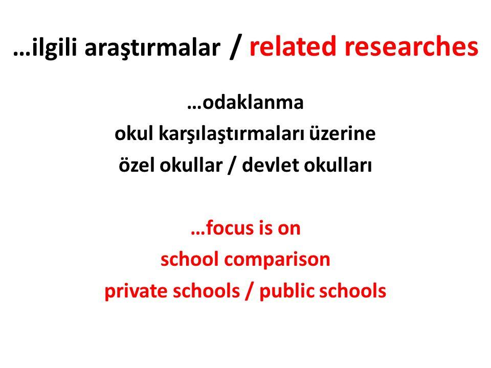 …ilgili araştırmalar / related researches …odaklanma okul karşılaştırmaları üzerine özel okullar / devlet okulları …focus is on school comparison private schools / public schools
