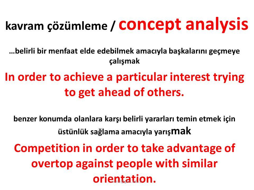 kavram çözümleme / concept analysis …belirli bir menfaat elde edebilmek amacıyla başkalarını geçmeye çalışmak In order to achieve a particular interest trying to get ahead of others.