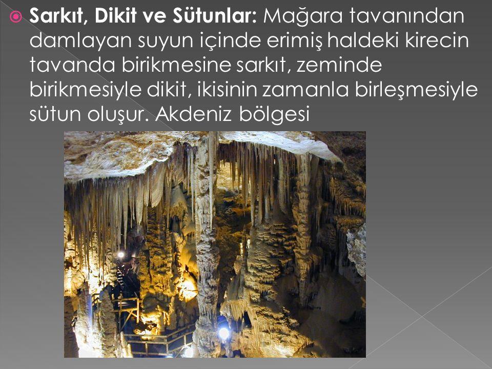  Sarkıt, Dikit ve Sütunlar: Mağara tavanından damlayan suyun içinde erimiş haldeki kirecin tavanda birikmesine sarkıt, zeminde birikmesiyle dikit, ik