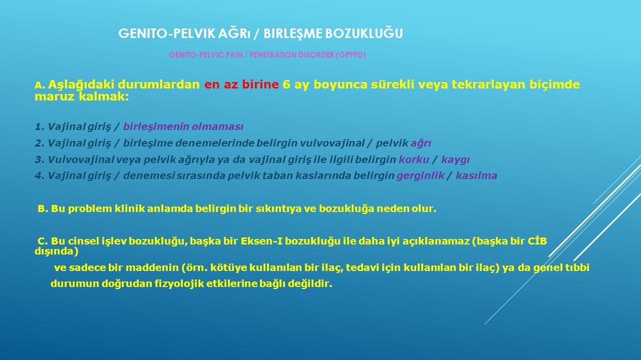 GENITO-PELVIK AĞRı / BIRLEŞME BOZUKLUĞU GENITO-PELVIC PAIN / PENETRATION DISORDER (GPPPD) A.