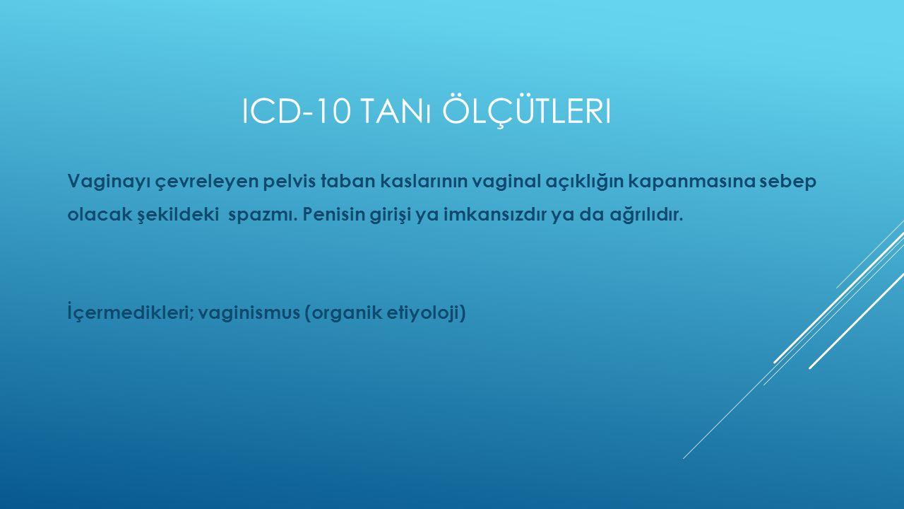 ICD-10 TANı ÖLÇÜTLERI Vaginayı çevreleyen pelvis taban kaslarının vaginal açıklığın kapanmasına sebep olacak şekildeki spazmı. Penisin girişi ya imkan